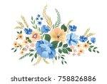 floral frame pattern. flower... | Shutterstock .eps vector #758826886