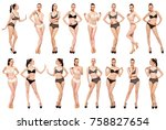 collage snap models. young... | Shutterstock . vector #758827654