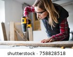 young woman worker in the... | Shutterstock . vector #758828518