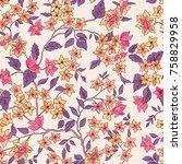 floral seamless pattern....   Shutterstock .eps vector #758829958