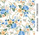floral seamless pattern.... | Shutterstock .eps vector #758830330