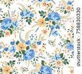 floral seamless pattern.... | Shutterstock .eps vector #758830330