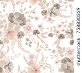 floral seamless pattern. flower ... | Shutterstock .eps vector #758830339