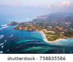 aerial view of the weligama... | Shutterstock . vector #758835586