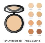 face compact makeup powder with ... | Shutterstock .eps vector #758836546