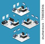 isometric 3d illustration set... | Shutterstock .eps vector #758838346