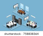 isometric 3d illustration set... | Shutterstock .eps vector #758838364
