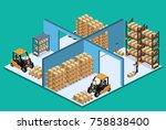 isometric 3d vector... | Shutterstock .eps vector #758838400