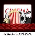 popcorn and film | Shutterstock .eps vector #758838808