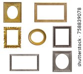 set of gold  silver and wooden... | Shutterstock . vector #758839078