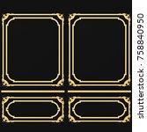 3d rendering gold stucco frame | Shutterstock . vector #758840950