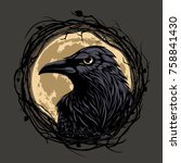 black raven in twig frame on... | Shutterstock .eps vector #758841430
