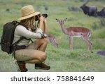 young lady in safari attire... | Shutterstock . vector #758841649