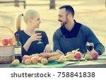 happy couple having picnic in... | Shutterstock . vector #758841838