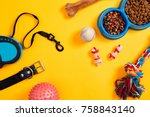 Stock photo dog accessories on yellow background top view pets and animals concept 758843140