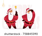 santa claus expressions and... | Shutterstock .eps vector #758845390