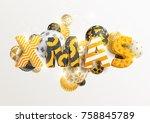 christmas golden greeting card | Shutterstock .eps vector #758845789
