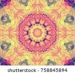 seamless kaleidoscope orange...   Shutterstock . vector #758845894