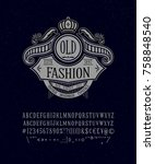 old fashion font. old retro... | Shutterstock .eps vector #758848540