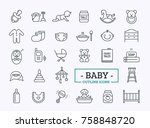 baby care outline icons vector... | Shutterstock .eps vector #758848720