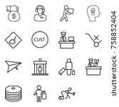 thin line icon set   money gift ...   Shutterstock .eps vector #758852404