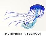 Blue Jellyfish 3d Illustration...