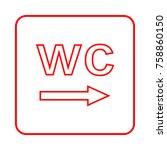 toilet sign. wc  men and women    Shutterstock .eps vector #758860150