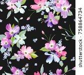 spring flowers seamless pattern.... | Shutterstock .eps vector #758864734