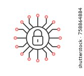 cyber security icon. vector... | Shutterstock .eps vector #758864884