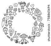 kindergarten nursery preschool... | Shutterstock .eps vector #758865694