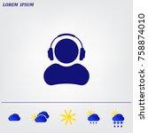 man with headphones vector icon | Shutterstock .eps vector #758874010