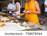 the buffet in the hotel full of ... | Shutterstock . vector #758878564