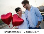 young couple in love dating and ... | Shutterstock . vector #758880574