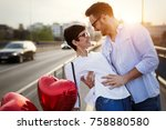 young couple in love dating and ... | Shutterstock . vector #758880580