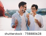 romantic young couple dating... | Shutterstock . vector #758880628