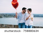 romantic young couple dating... | Shutterstock . vector #758880634