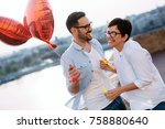 couple in love dating and... | Shutterstock . vector #758880640