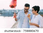young couple in love dating and ... | Shutterstock . vector #758880670