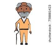 cartoon elderly man icon over... | Shutterstock .eps vector #758881423