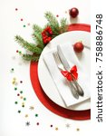 christmas table setting with... | Shutterstock . vector #758886748
