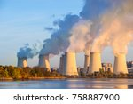 smoking pipes of thermal power... | Shutterstock . vector #758887900