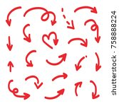 set  collection of red doodle ... | Shutterstock .eps vector #758888224