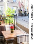 street outdoor cafe with nature ... | Shutterstock . vector #758892280