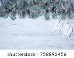 christmas wood background with... | Shutterstock . vector #758893456