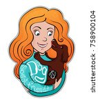 girl with a dog. vector cute... | Shutterstock .eps vector #758900104