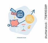 pension plan vector concept... | Shutterstock .eps vector #758900389