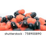multicolored tablets. medical... | Shutterstock . vector #758900890