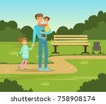 happy father and two kids... | Shutterstock .eps vector #758908174