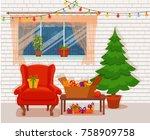 christmas room interior in... | Shutterstock .eps vector #758909758