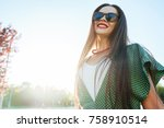 positive fashion shine smiling... | Shutterstock . vector #758910514